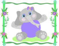 Frame of Elephant and Hibiscus Flowers Royalty Free Stock Photo