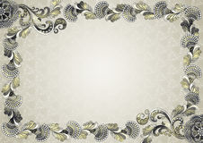 Frame with embossed ornament with moire effect. In gray yellow tones on gray background Stock Photos
