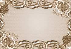 Frame with an embossed pattern in the rococo style. In shades of brown on a beige background with ornament royalty free illustration
