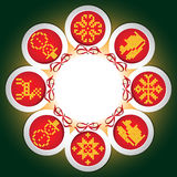 Frame of embroidered with New Year balls. Frame of embroidered New Year balls in gray background Vector Illustration