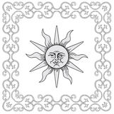 Frame en zonvector royalty-vrije illustratie