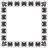 Frame estilizado com borboletas e flores Foto de Stock Royalty Free