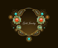 Frame with ethnic gold jewelry Royalty Free Stock Photos