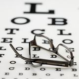 Frame on eye chart. Dior frame put down on a opticians eyechart Stock Photos