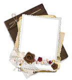 Frame with fabric flowers Stock Image