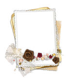Frame with fabric flowers and bow Stock Image
