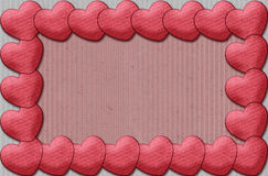 Frame of fabric hearts Stock Photography