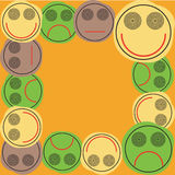 Frame face with different expressions. Frame face, different expressions - smile, angry vector illustration