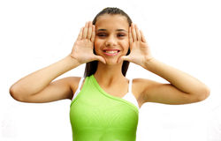 Frame face with hands royalty free stock photography