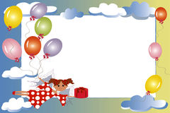 Frame:fairy with gift and balloons. Royalty Free Stock Image