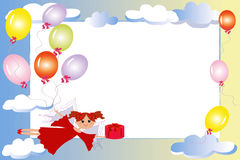 Frame:fairy With Gift And Balloons. Stock Image