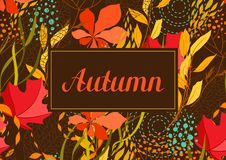 Frame with falling leaves. Natural illustration of autumn foliage Stock Photo