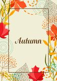 Frame with falling leaves. Natural illustration of autumn foliage Royalty Free Stock Image