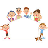 Frame of a family and the house Stock Photo