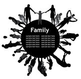 Frame with family silhouettes. Royalty Free Stock Photos