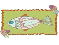 Frame with fantastic fish Stock Image