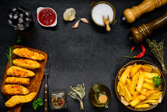 Frame with Fast Food and Cooking Ingredients Royalty Free Stock Images