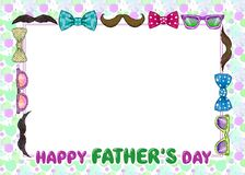 Frame for fathers day with glasses, mustache and bow tie royalty free illustration