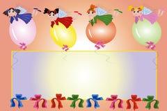 Frame: feeën die op ballons vliegen Stock Afbeeldingen