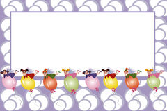Frame: feeën die op ballons vliegen Stock Fotografie