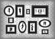 Frame with female silhouettes and floral ornament Royalty Free Stock Photo