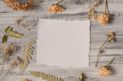 Frame with fern leaves, roses and branches on wooden background Stock Photo