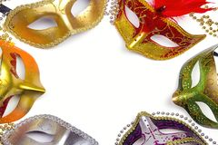 Frame from Festive Carnival colored masks on white background. S Royalty Free Stock Image