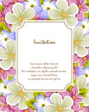 Frame of a few flowers. For design of cards, invitations, greeting for birthday, wedding, party, holiday, celebration, Valentine`. S day. Vector illustration Stock Image