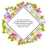 Frame of a few flowers. For design of cards, invitations, greeting for birthday, wedding, party, holiday, celebration, Valentine`. S day. Vector illustration Royalty Free Stock Photo