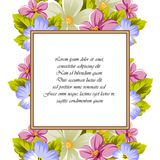 Frame of a few flowers. For design of cards, invitations, greeting for birthday, wedding, party, holiday, celebration, Valentine`. S day. Vector illustration Stock Photos