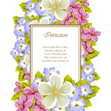 Frame of a few flowers. For design of cards, invitations, greeting for birthday, wedding, party, holiday, celebration, Valentine`. S day. Vector illustration Royalty Free Stock Photos