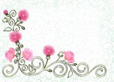 Frame with filigree ornament,  flowers mimosa and roses. Background with filigree  corner ornament, decorated with golden curls, mimosa flowers and roses Stock Images