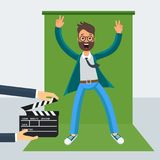 Frame from film. Film director on the set. Videoproduction and filmmaking. Flat vector cartoon illustration. Objects isolated on white background Stock Photos