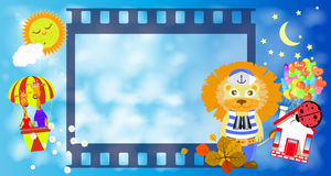 Frame. Film strip frame. a lion. Children s illustration. is used to print, website, smartphone, design, textiles, ceramics fabrics prints postcards packaging Stock Photos