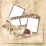 Frame filmstrips on vintage background. Vintage sea background with space for text or photo for congratulation to the holiday Stock Photo