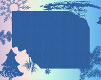 Frame with fir branches. Abstract blue frame with snowflakes, christmas tree and fir branches Royalty Free Stock Photography