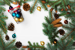 Frame of fir branches with Christmas decorations Royalty Free Stock Photos