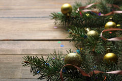 Frame of fir branches and Christmas toys Stock Images