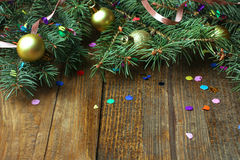 Frame of fir branches and Christmas toys Royalty Free Stock Photography