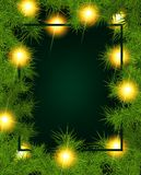 Frame of fir branches and lights. Christmas background with fir branches and balls. Vector illustration Royalty Free Stock Photo