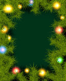 Frame of fir branches and lights. Christmas background with fir branches and balls. Vector illustration Stock Image