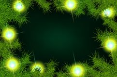Frame of fir branches and lights Stock Image