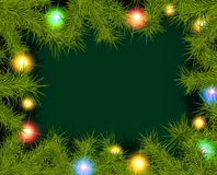 Frame of fir branches and lights. Christmas background with fir branches and balls. Vector illustration Royalty Free Stock Image