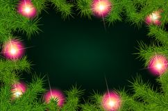 Frame of fir branches and lights. Christmas background with fir branches and balls. Vector illustration Royalty Free Stock Photography