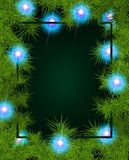 Frame of fir branches and lights. Christmas background with fir branches and balls. Vector illustration Royalty Free Stock Photos