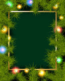 Frame of fir branches and lights Royalty Free Stock Photo