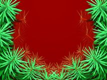 Frame with fir tree. On red background Royalty Free Stock Photos