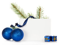 Frame from fir-tree branch and Chrismas toys Stock Images