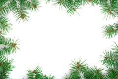 Frame of Fir tree branch with snow isolated on white background with copy space for your text. Top view.  Royalty Free Stock Photos