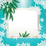 Frame, fir tree branches and snowflakes on colorful background. Royalty Free Stock Photo